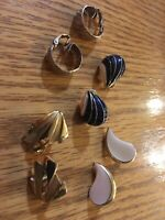 Vintage 50s Clip On Earrings Gold Black And Off white Color - Set Of 4