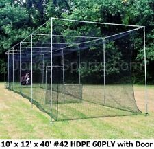 10' x 12' x 40' #42 HDPE (60PLY) with Door Heavy Duty Baseball Batting Cage Net