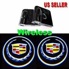 2xWireless Ghost Shadow Projector Logo LED Door Step Light Courtesy for Cadillac