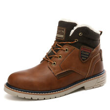 Winter Men's Snow Walking Shoes Warm Lambswool Lined Casual Outdoor Martin Boots
