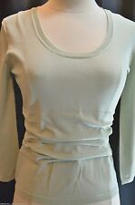 PER SE Silk Blend mint ruched sexy pullover slinky sweater top fine knit Size S