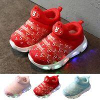 Children Kids Baby Girls Boys Bling Led Light Luminous Mesh Sport Sneakers Shoes