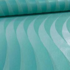 Grandeco Casa Doria Wave Stripe Metallic Textured Vinyl Wallpaper Turquoise