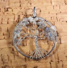 NATURAL LABRADORITE TREE OF LIFE  WIRE WRAPPED PENDANT STONE GEMSTONE