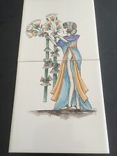 1980s quality handpainted tiles -  egyptian lady with flowers- bright colours