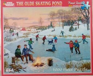 White Mountain OLDE SKATING POND Ice Snow #804s Jigsaw Puzzle 1000pc 24x30 2012