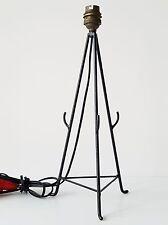 PIED DE LAMPE TRIPODE ACIER NOIR TYPIQUE ANNEES 50 VINTAGE ROCKABILLY ZAZOU LAMP