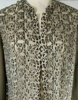 CHICOS Womens Size 1 Small Open Front Taupe Animal Print Cardigan Knit Sweater