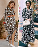 ZARA BLACK WHITE FLORAL PRINT LONG FLOWING FLOWY MAXI MIDI SHIRT DRESS Button Up