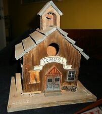 Hand Crafted Cedar Wood Schoolhouse Birdhouse With Perching Area