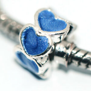1x Blue Heart Bead Charms Spacer Fit Eupropean Chain Bracelet Making Jewelry