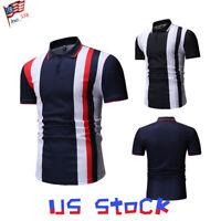 Fashion Men T-shirts Striped Slim Fit Casual Dress Short Sleeve Collar Tops US