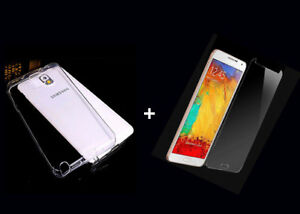 For Samsung Galaxy Note 3 TPU Gel Clear Phone Back Case & Free Screen Protector