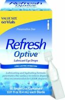 New &  Sealed  Refresh Optive Lubricant Eye Drops Hydration 60 vials Exp 09/2021