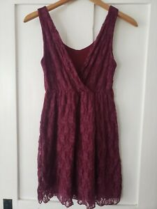 Red Lace Summer Dress Burgundy Ca 8-10 Small