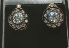 Diamond Solitaire Stud Earrings  14 carat Gold  2 CT of Diamonds
