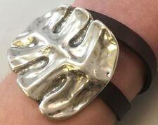 NWT UNO de 50 THE LEAF Silver & Brown Leather Wrap Bracelet w/ Orig Pkg PUL1681