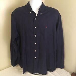 Ralph Lauren Mens Blake Shirt XL Silk Cotton Blend Blue w/ Red Logo Free Ship!