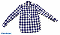 Woman's J.CREW Blue White Plaid Button Up Shirt 100% Cotton Long Sleeve Size XXS