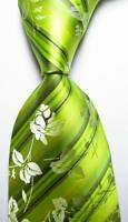New Classic Floral Light Green White Black JACQUARD WOVEN Silk Men's Tie Necktie