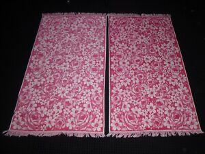 NOS Pr Vtg Fieldcrest MOD Pink Daisies Roses Floral Sculpted Bath Towels 25x44