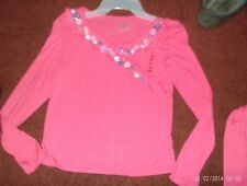 justice   girls size  18-pink top---ruffled faux wrap ---glittery flowers