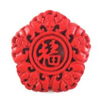 1Pcs Beautiful Red Cinnabar Carved Hollow Out Five Blessings Pendant Bead F-hsf
