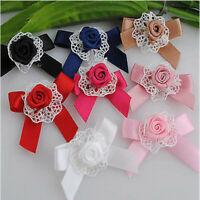 10 -40 Pcs Rose Ribbon Flower Bows W/rose Appliques Wedding Craft