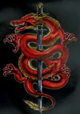 Oriental Dragon and Sword Sticker/Decal