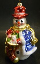 "Vintage Polonais Snowman w/ Stocking Glass Ornament 6.25"" x 3.25"" Very Good Cond"