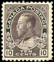 Canada #116 mint F-VF OG HR DG 1912 King George V 10c plum Admiral CV$260.00