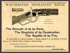"GUN, Winchester 1873 Repeating Rifle Advertisement, antique decor, 14""x11"" Print"