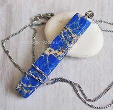 18K White Gold Plt Sea Sediment Jasper Necklace Pendant Reiki Healing Chakra Gem