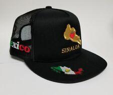 Sinaloa Mexico Hat Black Mesh Trucker Snap Back Adjustable New 4Logos