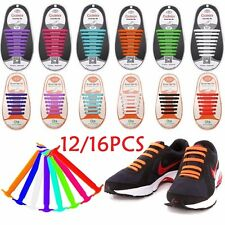 Colored No Tie Elastic Shoe Laces 100% Silicone Trainers Adult Kids Shoelaces UK