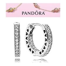 Pandora Silver Hearts Of PANDORA Hoop Earrings S925 ALE