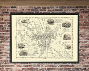 Old Antique Bradford map 1851 by John Tallis. Vintage Reproduction - A1 size