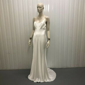 David Fielden Sample Wedding Dress Long Ivory Cross Slip Style 8039 Size Uk 14