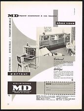 1957 Vintage Bibliotheque MD Mid Century Modern Furniture Photo Print Ad