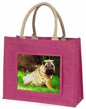 Cute Shar-Pei Dog Large Pink Shopping Bag Christmas Present Idea, AD-SH1BLP