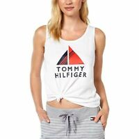Tommy Hilfiger Women's Top Blouse Large Tank Cami Printed Whites L