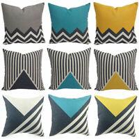 Geometric Linen Cotton Bed Home Cushion Pillow Throw Cover Decor Sofa Case 18''
