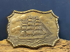 Vtg Pirate Sail Galleon Brigantine Clipper Ship Nautical Maritime Belt Buckle