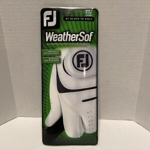 FootJoy WeatherSof Mens Right Large White & Black Golf Glove New In Package