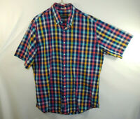 Bullock & Jones Mens Short Sleeve Casual Oxford Dress Shirt Plaid Size LARGE L