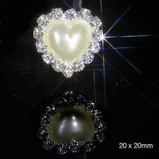 10 PEARL & DIAMANTE HEART EMBELLISHMENTS SILVER RHINESTONE CRYSTAL APRX 1.8 -2cm