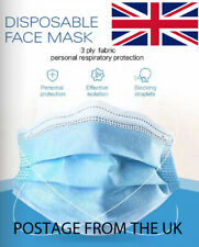10x Face Mask Disposable Mouth Cover Face Masks Respiration U.K. Elasticated Ten