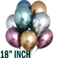"18"" Metallic Chrome Balloons Bouquet Wedding Birthday Party Supplies UK Baloons`"
