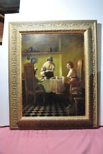"""Tea party Painting Oil On Canvas 26""""x32"""" Signed Neubauer 06 Framed."""