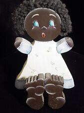 Black Americana Shelf Sitter or Napkin Holder Girl Folk Art 1987 Hand Painted